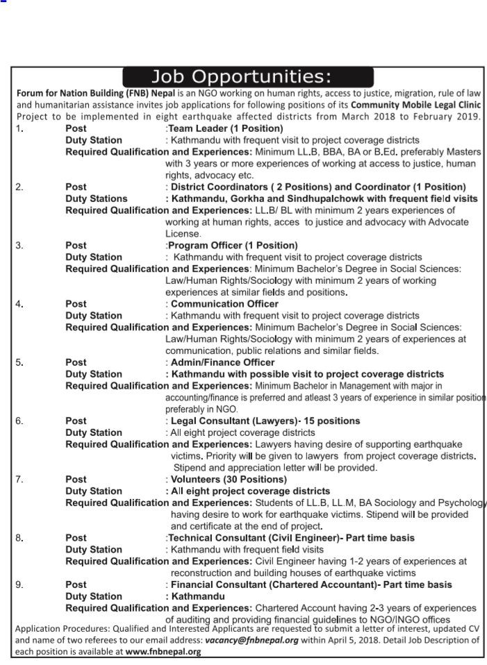 Communication Officer Job Vacancy In Nepal Forum For Nation