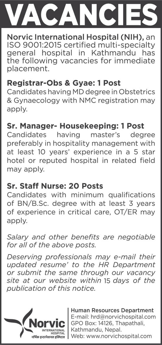Sr. Manager - Housekeeping