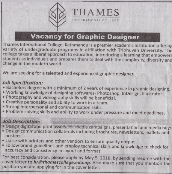 Graphic Designer Job Vacancy in Nepal - Thames International College