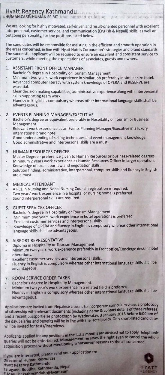 Assistant Front Office Manager Job Vacancy in Nepal - Hyatt