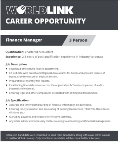 Finance Manager Job Vacancy In Nepal  Worldlink  Dec   Merojob